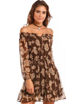Rock & Roll Cowgirl Women's Floral Off the Shoulder Dress, Brown, hi-res
