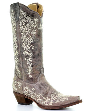 Corral Brown Crater with Bone Embroidery Cowgirl Boots - Snip Toe, Brown, hi-res