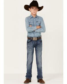 Wrangler Retro Boys' Holstein Medium Wash Slim Straight Jeans, Blue, hi-res