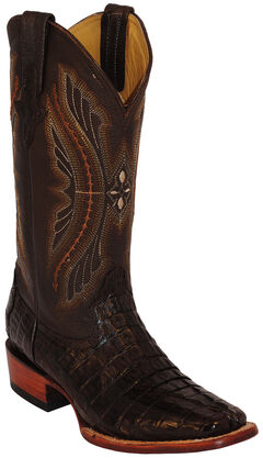 Ferrini Caiman Tail Exotic Cowboy Boots - Square Toe, Chocolate, hi-res