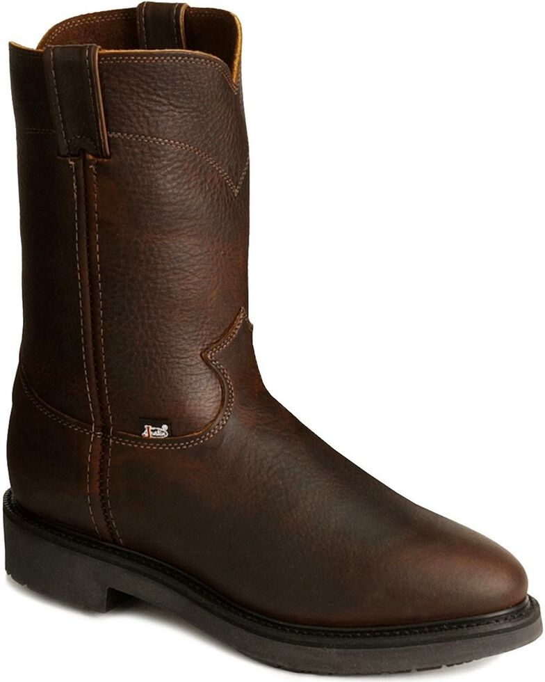 Justin Men's Conductor Electrical Hazard Pull-On Work Boots - Steel Toe, Tobacco, hi-res