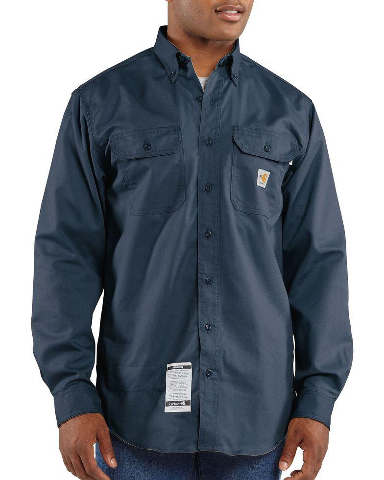 Carhartt Men's FR Solid Two-Pocket Long Sleeve Work Shirt, Navy, hi-res