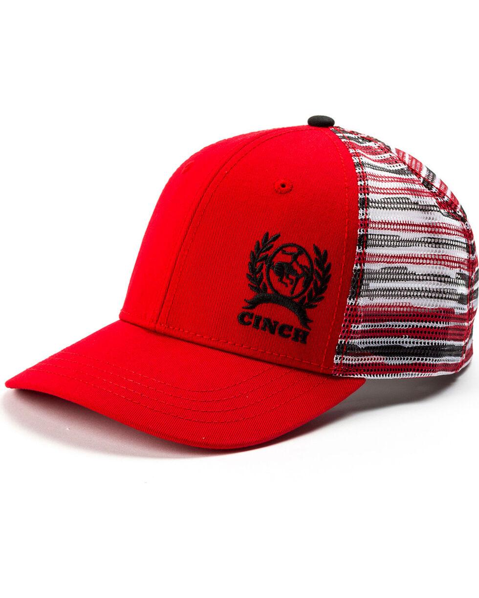 Cinch Men's Red Trucker Striped Mesh Back Cap, Red, hi-res
