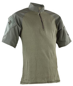 Tru-Spec Men's Olive Nylon / Cotton 1/4 Zip Short Sleeve Combat Shirt, Olive, hi-res