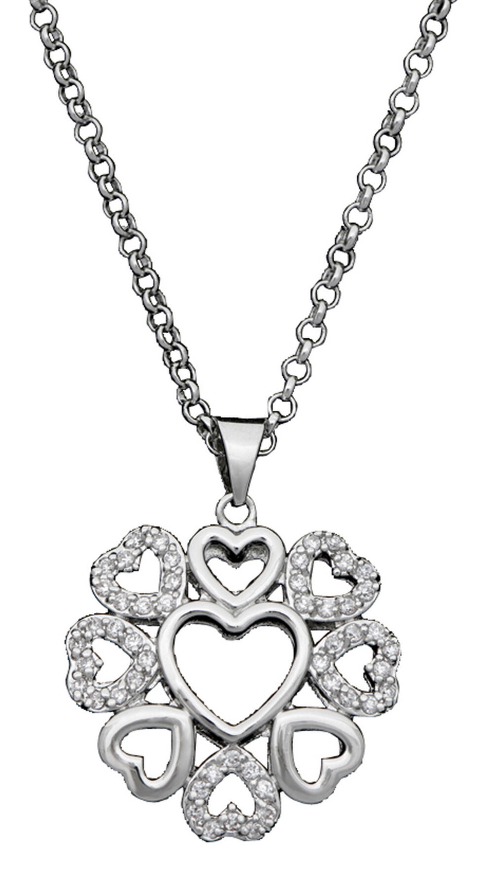 Montana Silversmiths Multi-Heart Necklace, Silver, hi-res