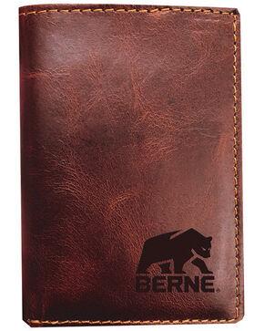 Berne Men's Cognac Tri-Fold Genuine Leather Wallet , Cognac, hi-res