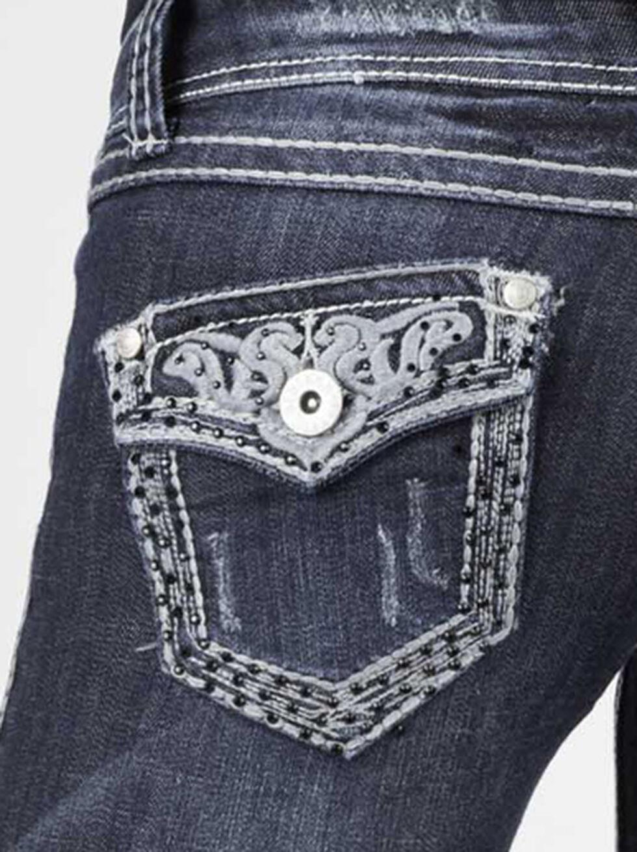 Stetson Women's 818 Fit Contemporary Contrast Stitch Bootcut Jeans, Denim, hi-res