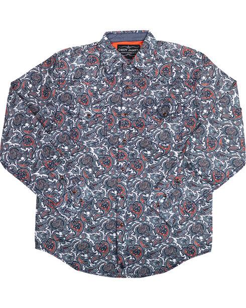 Cody James Men's Blue Paisley Patriot Long Sleeve Western Shirt , Blue, hi-res