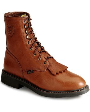 "Ariat Cascade 8"" Lace-Up Work Boots - Steel Toe, Bronze, hi-res"