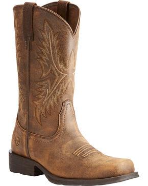 Ariat Men's Brown Western Rambler Vintage Bomber Boots - Square Toe , Brown, hi-res