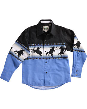 Cumberland Outfitters Boys' Blue Bronco Rider Borderprint Shirt , Blue, hi-res