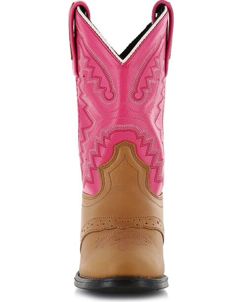 Shyanne Girls' Saddle Vamp Western Boots - Round Toe, Tan, hi-res