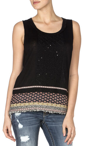 Miss Me Women's Fringe Hem Lace Back Sleeveless Top, Black, hi-res