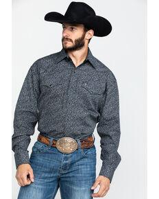Stetson Men's Vintage Floral Print Long Sleeve Western Shirt , Black, hi-res