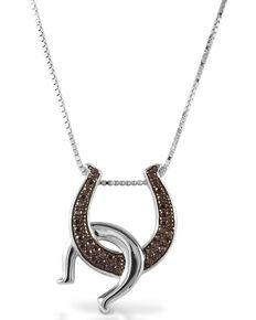 Kelly Herd Women's Cognac Double Horseshoe Necklace, Silver, hi-res