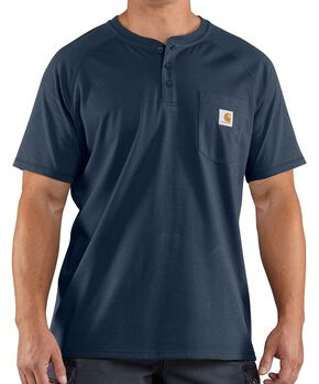 Carhartt Force Cotton Henley Short Sleeve Work Shirt - Big & Tall, Navy, hi-res