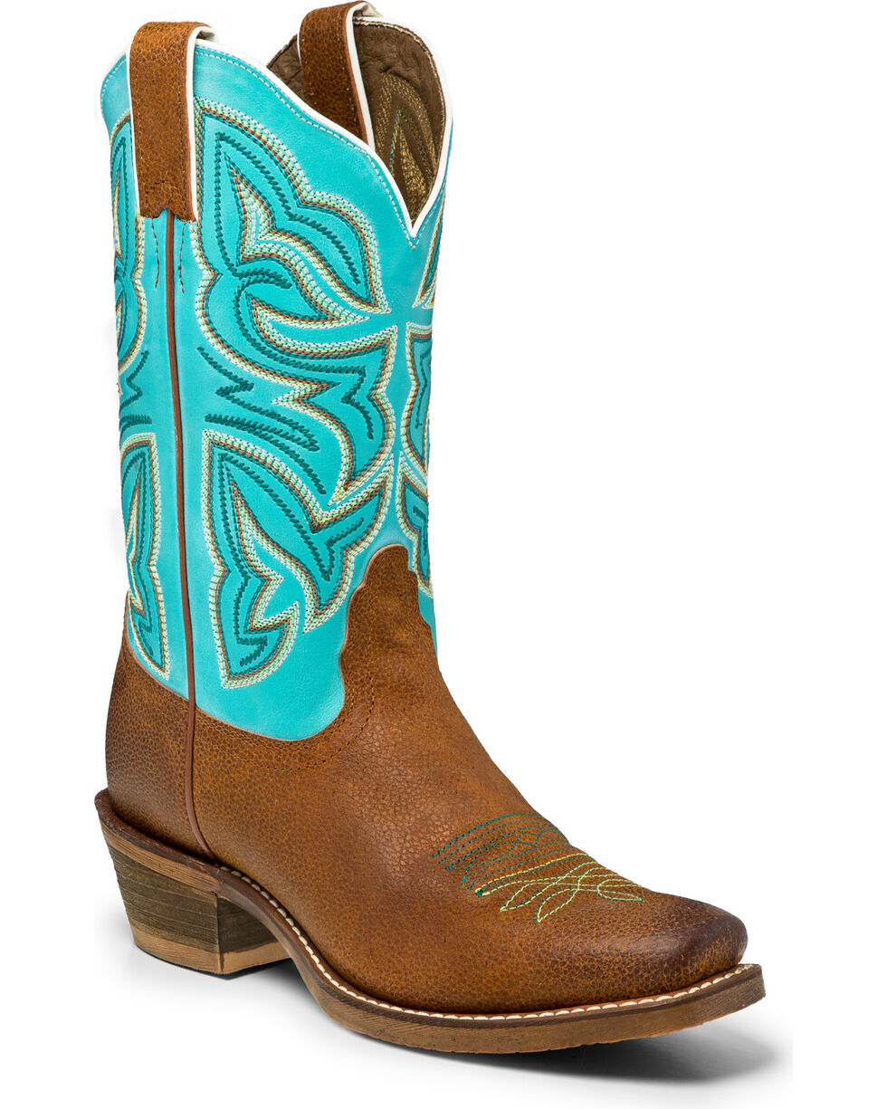 Nocona Women's Leather Turquoise Cowgirl Boots - Square Toe, Cognac, hi-res