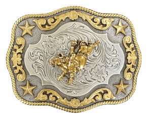 Nocona Rope Edge Bull Rider Silver/Gold Buckle, Gold, hi-res