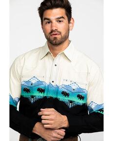 Wrangler Men's Buffalo Aztec Checotah Border Print Long Sleeve Western Shirt , Multi, hi-res
