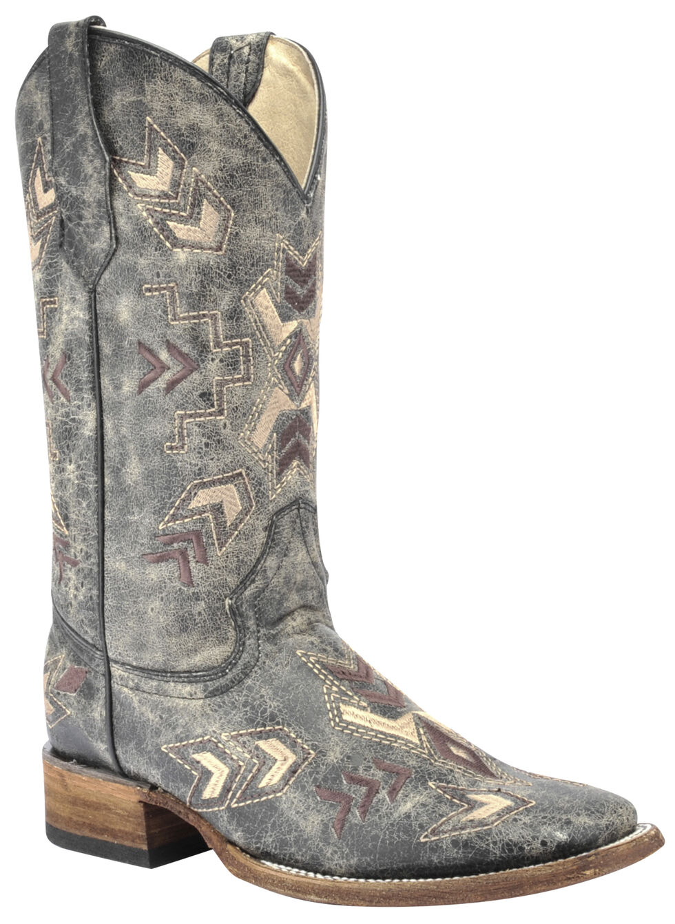 Circle G Distressed Black Arrowhead Cowgirl Boots - Square Toe, Black, hi-res