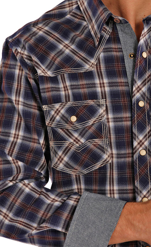 Rock and Roll Cowboy Herringbone Brushed Plaid Western Snap Shirt , Plaid, hi-res
