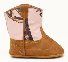 Double Barrel Infant Girls' Jobie Pink Mossy Oak Cowgirl Booties, Brown, hi-res