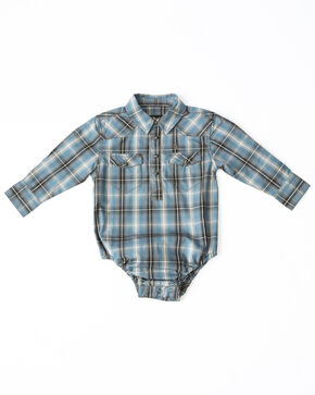 Cody James Infant Boys' Ringo Ombre Plaid Long Sleeve Western Onesie , Brown, hi-res