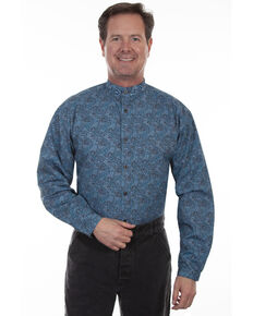 Rangewear by Scully Men's Teal Paisley Long Sleeve Western Shirt , Teal, hi-res