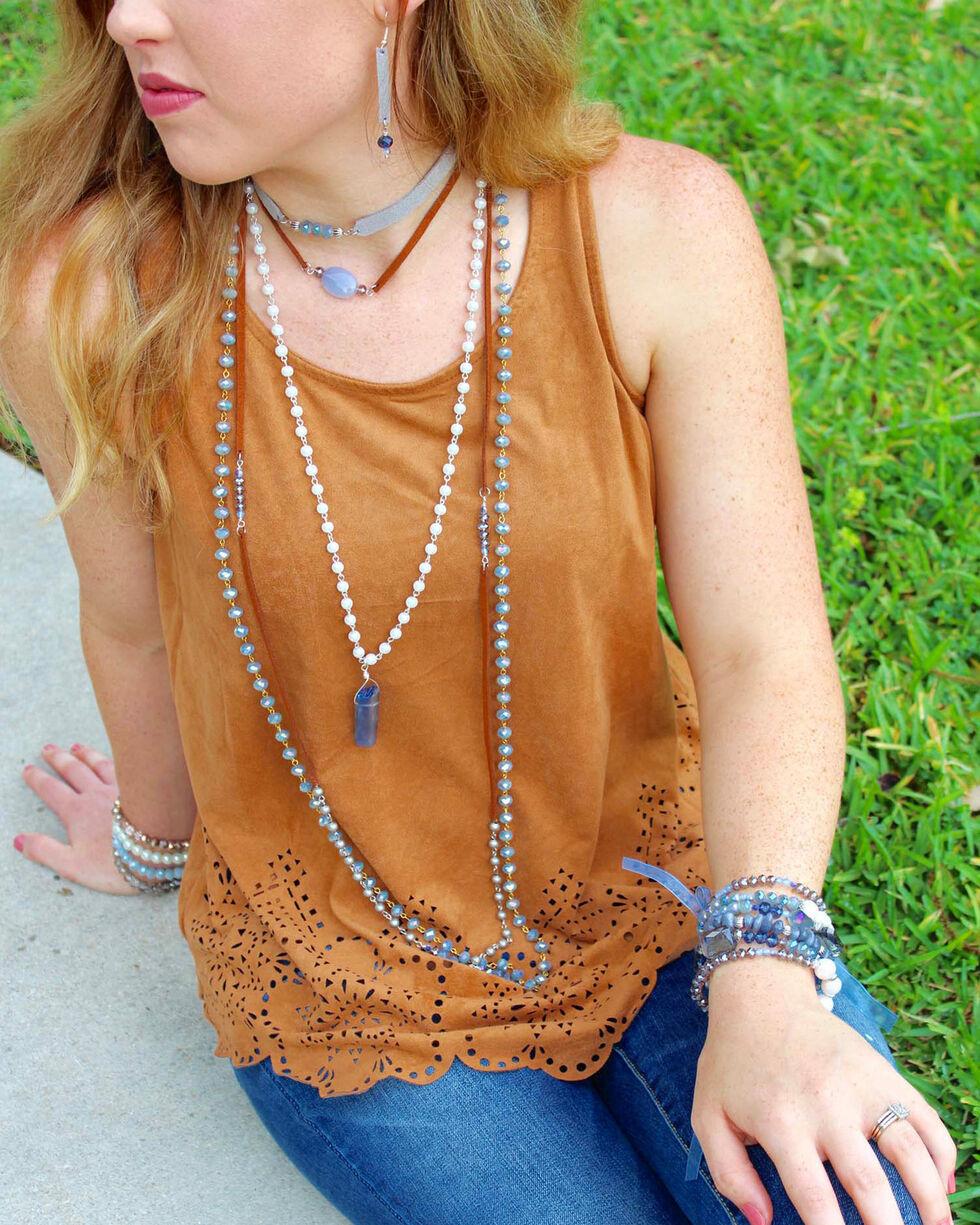 2 Queen B's Women's Blue Serenity Wrap Suede Necklace , Blue, hi-res