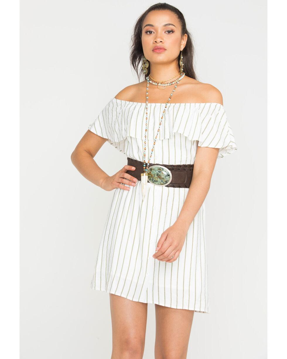 Sage the Label Women's White Striped Heartbreaker Dress , White, hi-res