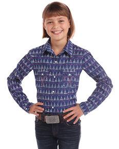 White Label by Panhandle Girls' Navy Teepee Print Long Sleeve Western Shirt, Navy, hi-res