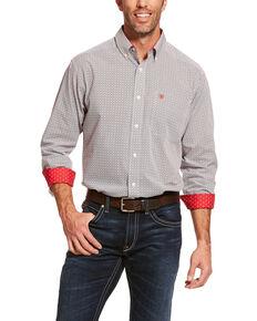Ariat Men's Wrinkle Free Cleary Geo Print Long Sleeve Western Shirt - Big , Grey, hi-res