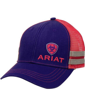 Ariat Men's Purple Contrasting Shield Logo Baseball Cap , Blue, hi-res