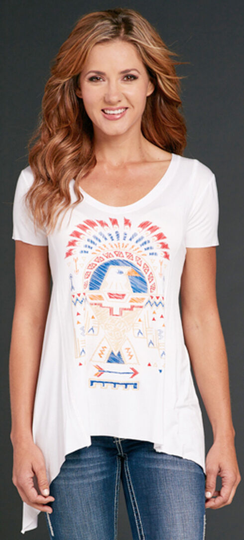 Cowgirl Up Eagle Print Short Sleeve Top, White, hi-res