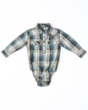 Cody James Infant Boys' Maderas Large Plaid Long Sleeve Western Onesie , Blue, hi-res