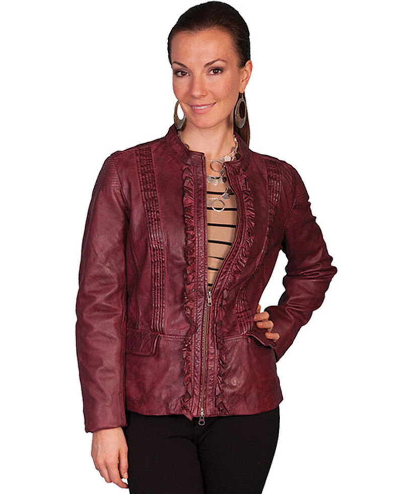 Scully Women's Black Cherry Ruffled Lamb Leather Jacket, Black Cherry, hi-res