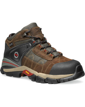 "Timberland Men's Brown Hyperion 4"" Work Boots - Alloy Toe , Brown, hi-res"