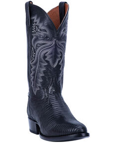 Dan Post Men's Winston Lizard Western Boots - Round Toe, Black, hi-res