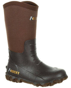 Rocky Boys' Core Rubber Waterproof Outdoor Boots - Round Toe, Dark Brown, hi-res