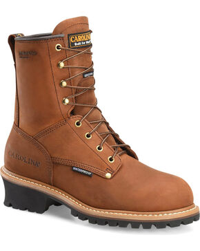 Carolina Men's Brown Waterproof Insulated Logger Boots - Round Toe, Brown, hi-res