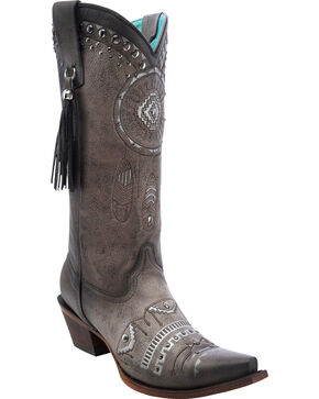 Corral Women's Dreamcatcher Cowgirl Boots - Snip Toe, Black, hi-res