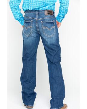 Rock & Roll Cowboy Men's Denim Multicolor Stitch Loose Boot Jeans , Blue, hi-res
