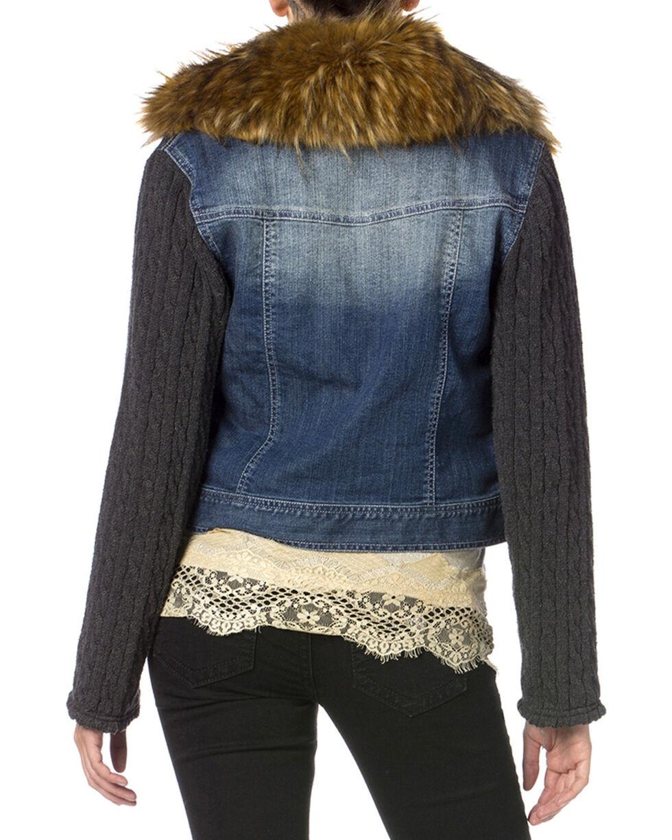 Miss Me Denim Faux Fur Collar Jacket, Denim, hi-res