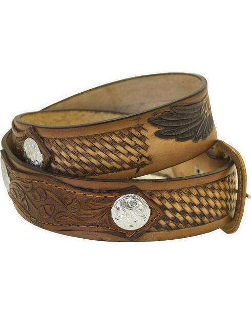Western Express Men's Leather Eagle Belt - Big, Brown, hi-res