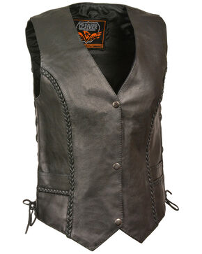 Milwaukee Leather Women's Braided Side Lace Vest - 5X, Black, hi-res