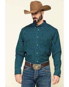 Cody James Core Men's Outlaw Territory Check Plaid Long Sleeve Western Shirt -Tall , Black, hi-res