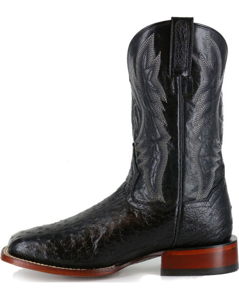Dan Post Men's Black Ostrich Exotic Boots - Square Toe , Black, hi-res