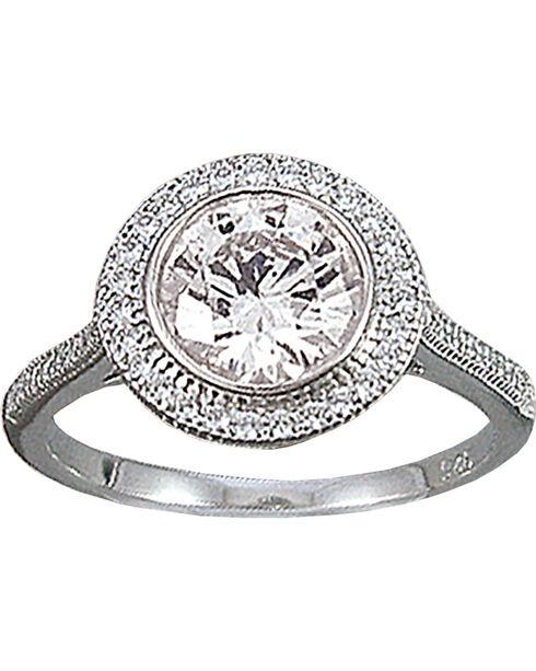 Kelly Herd Sterling Silver Pave' Bezel Set Ring, Silver, hi-res