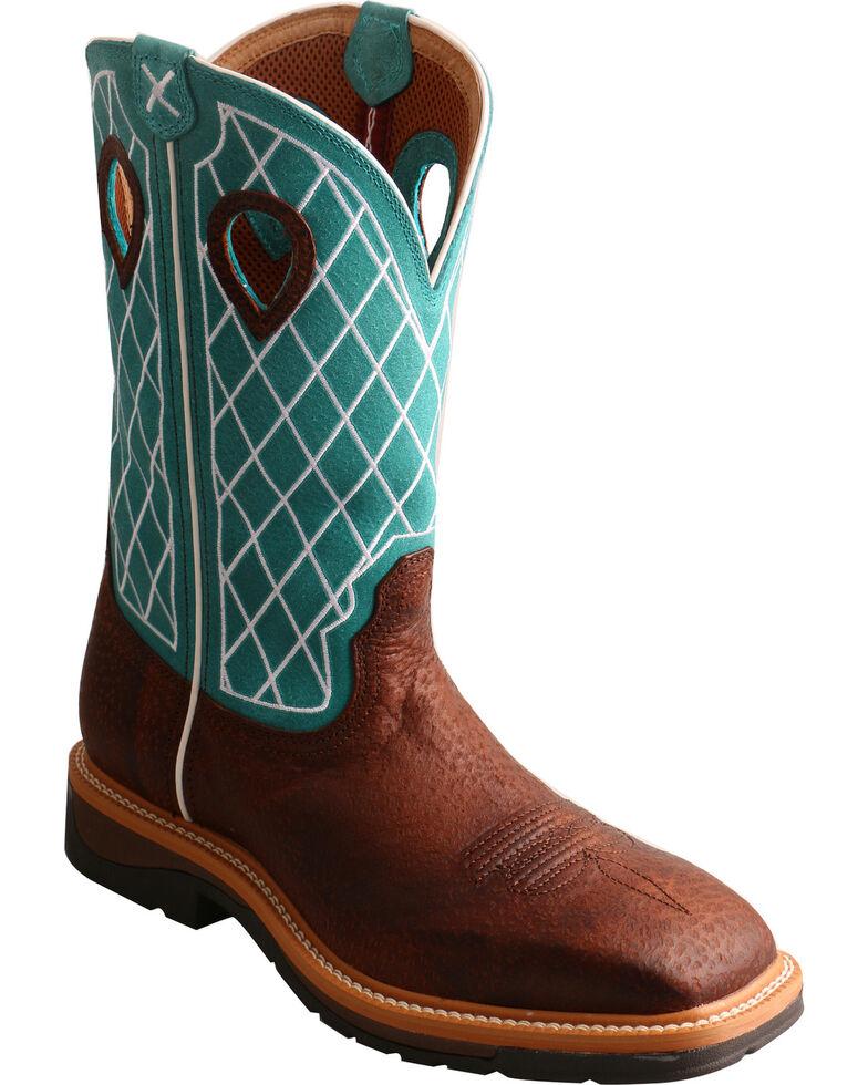 Twisted X Men's Lite Cowboy Work Boots - Steel Toe, Brown, hi-res