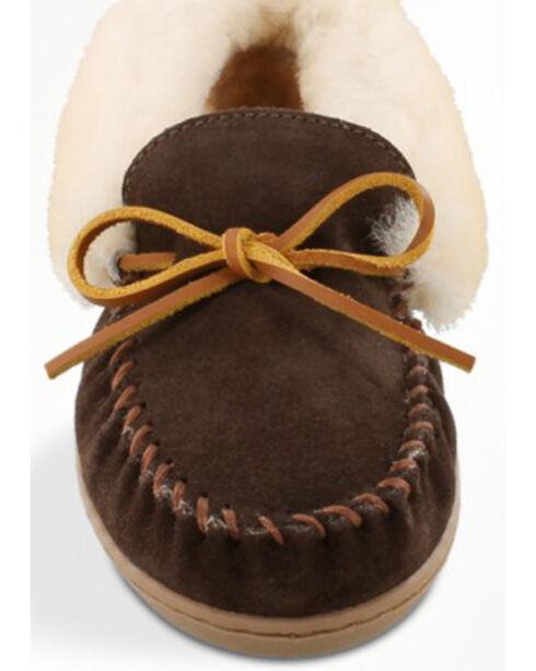 Minnetonka Women's Alpine Sheepskin Moccasins, Chocolate, hi-res